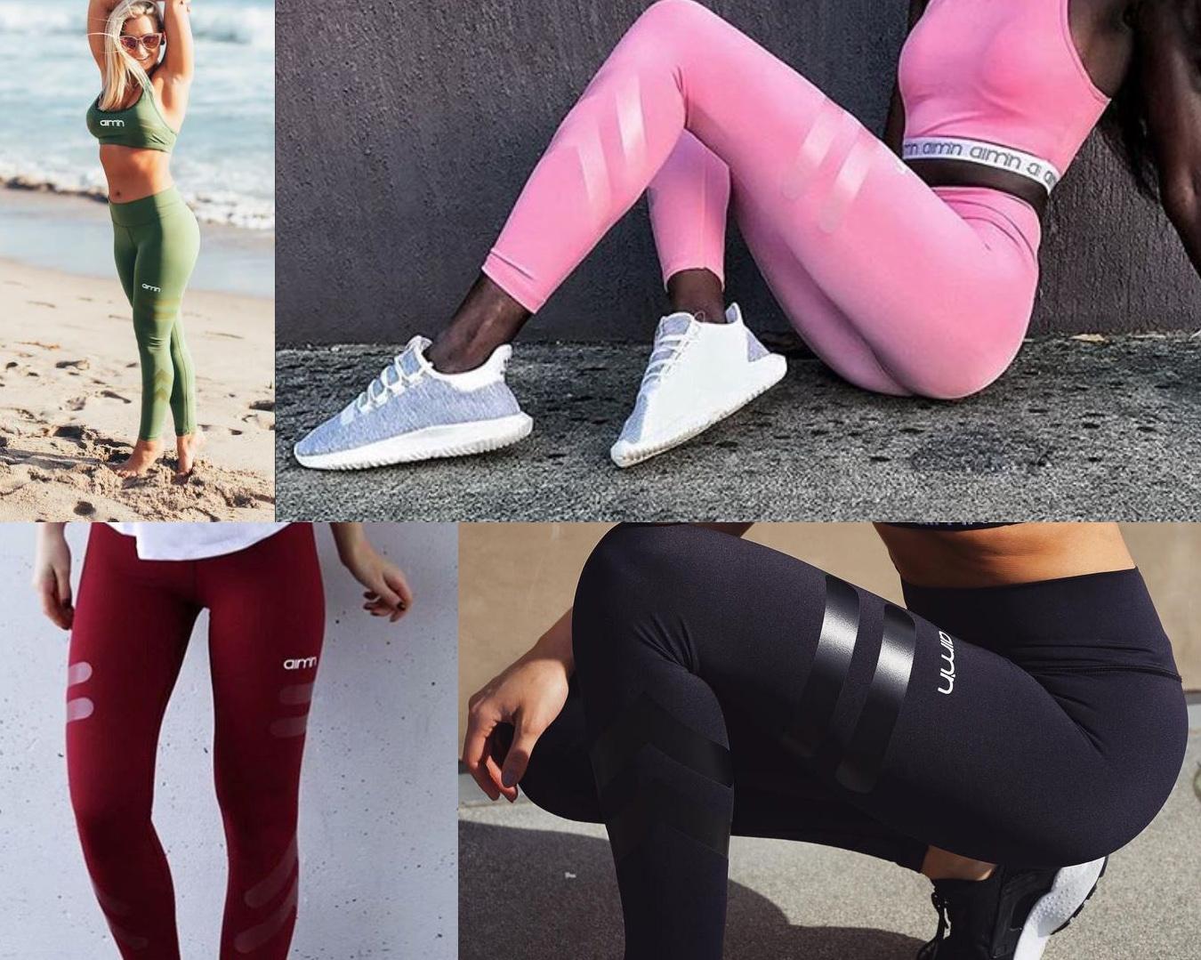 Aimn träningstights med hög midja hight waist tights gröna, rosa, svarta, vinröda