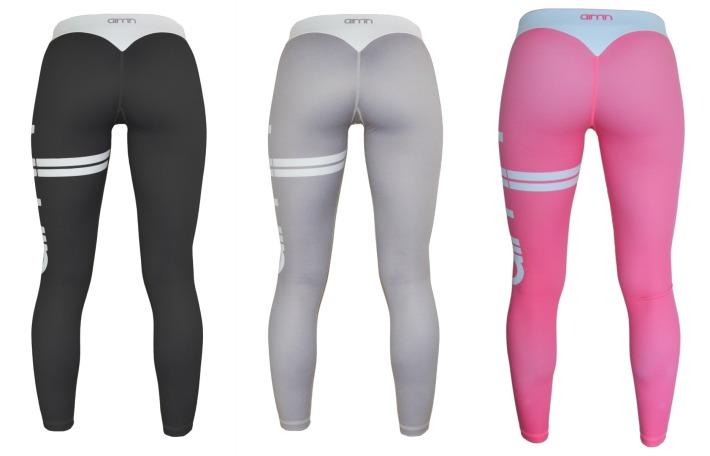 Svarta gråa rosa Aimn stripe tights med logo