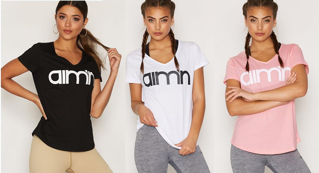 Aimn tshirt i svart vit och rosa