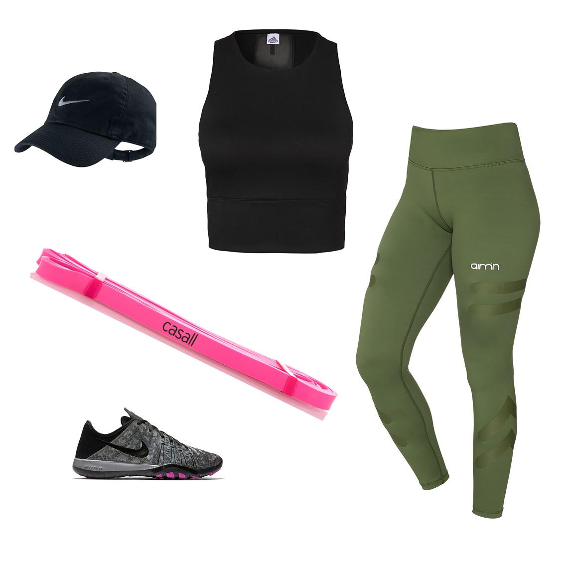 Träning med gummiband hemma, träningsbyxor, rosa gummiband