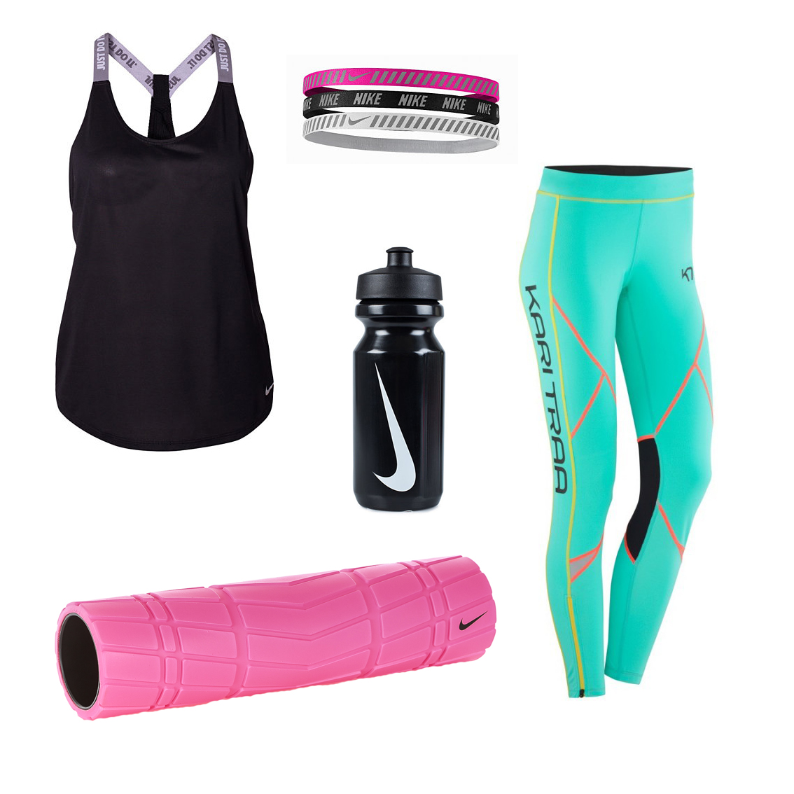 Foamroller för träning hemma och träningskläder