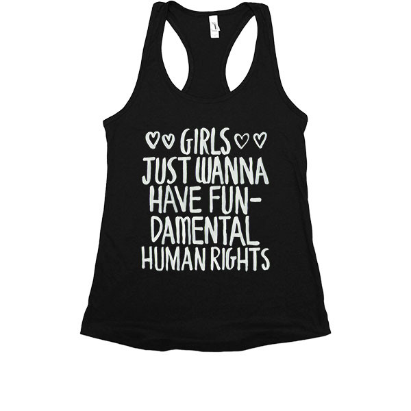 Girls just wanna have fundamental rights feminist linne tshirt tröja