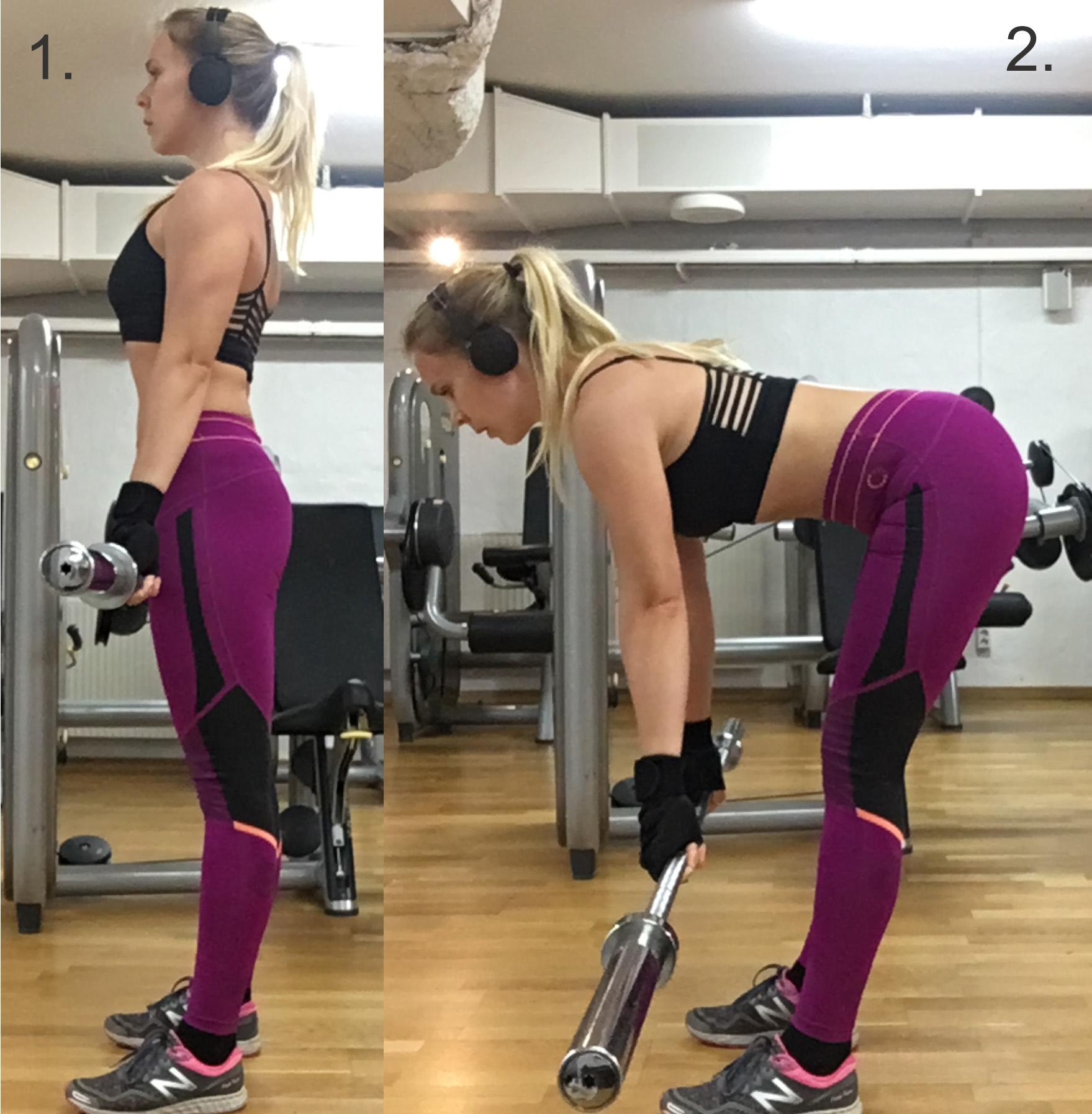 Raka marklyft, stiff leg deadlift, romanian deadlift teknik