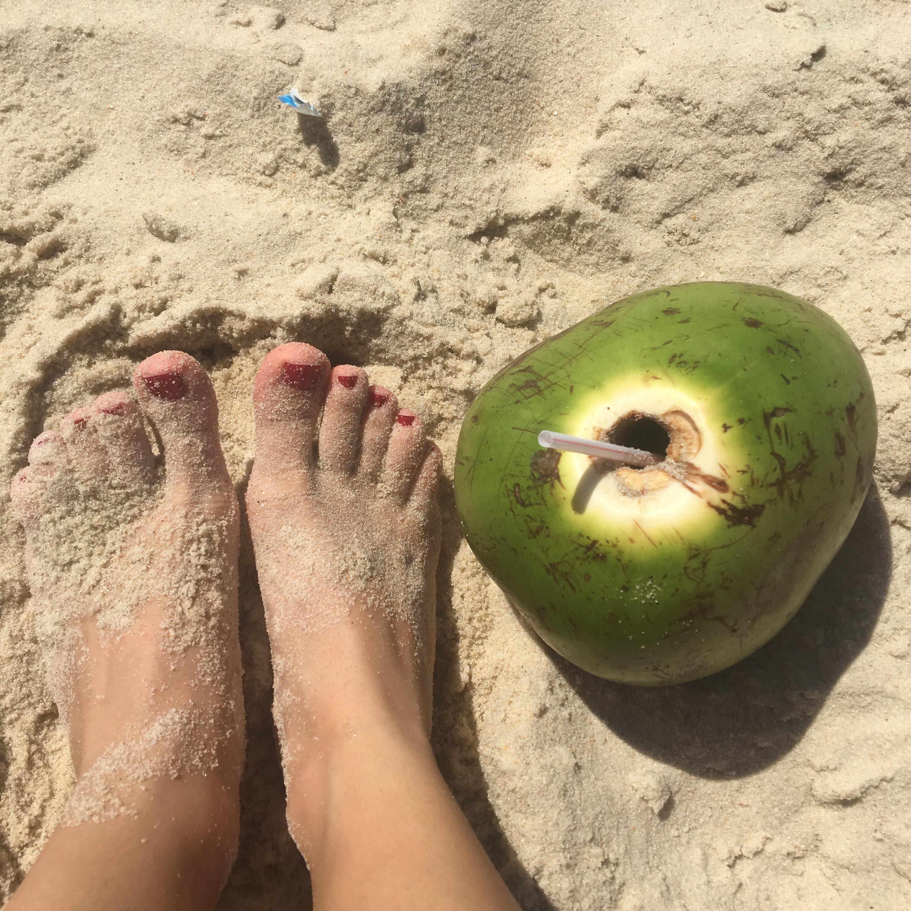 Strand Barra de Tijuca Rio de Janeiro Brasilien kokosnöt kokosvatten
