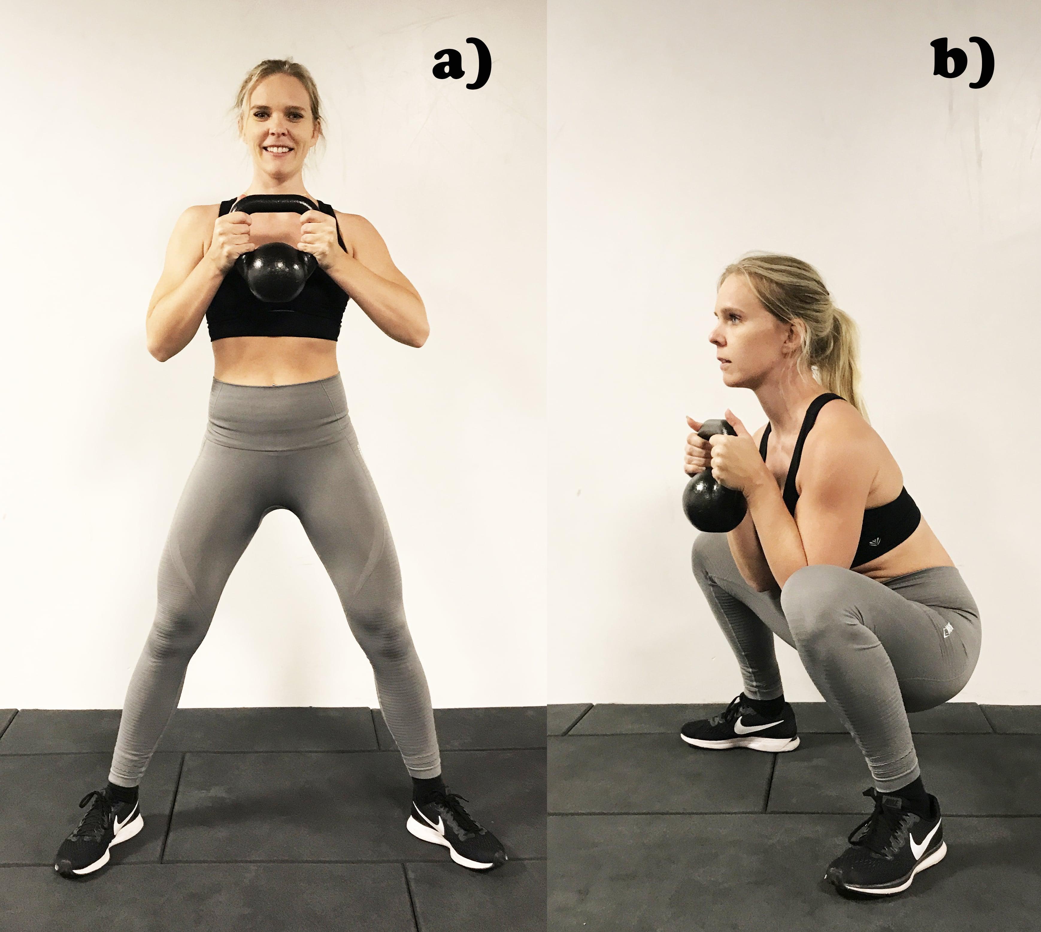 Kettlebell goblet squats övningar med kettlebells