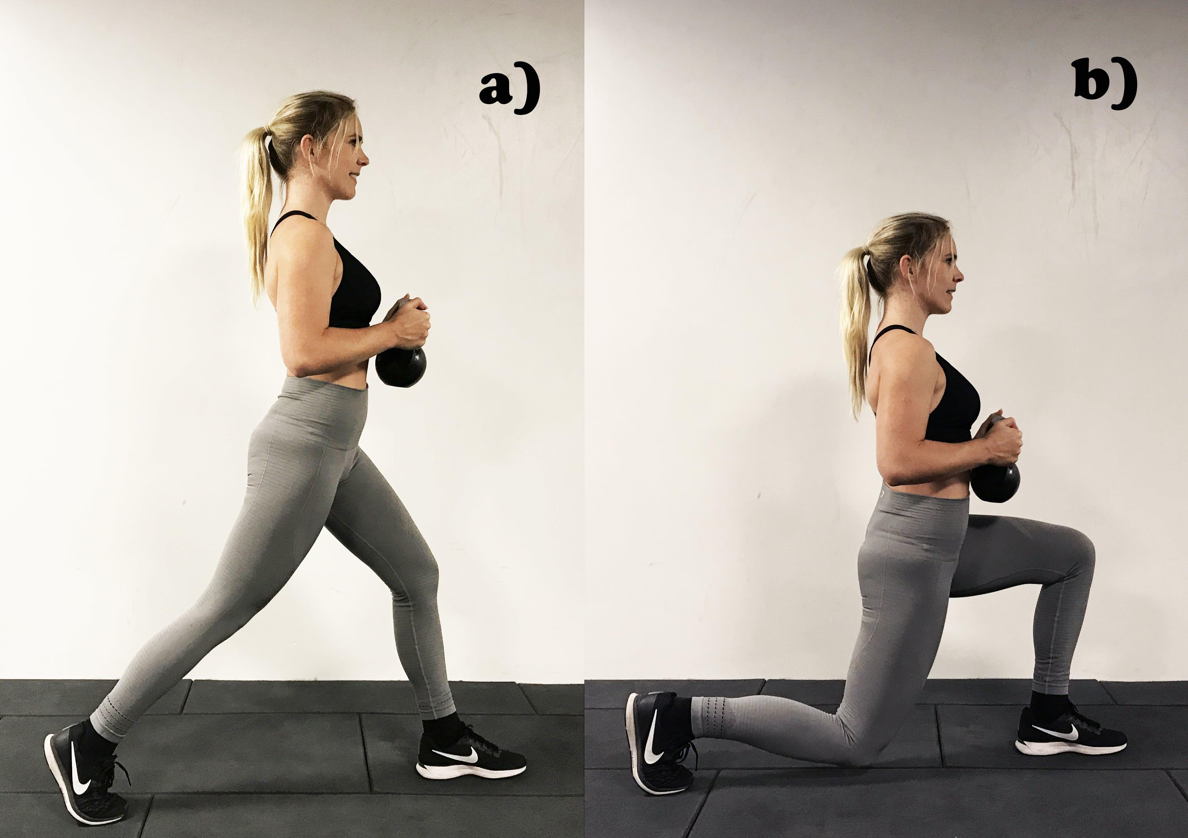 Kettlebell utfall övning lunges