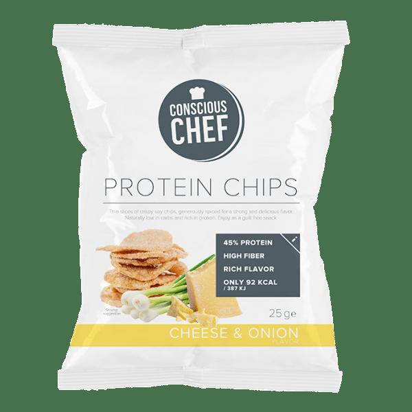 Protein chips conscious chef ostchips nyttiga chips låg fetthalt få kalorier