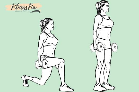 lunges på svenska utfall gående utfall övning ben gym kvinnor