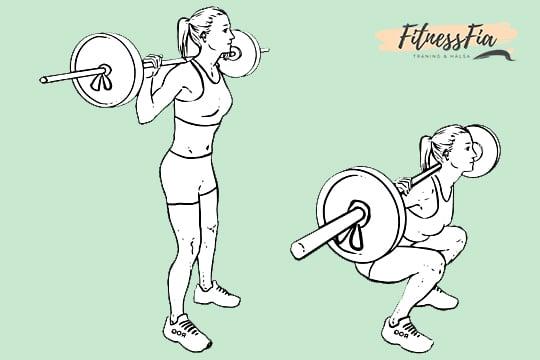 squats med stång knäböj benövning gymmet tjej