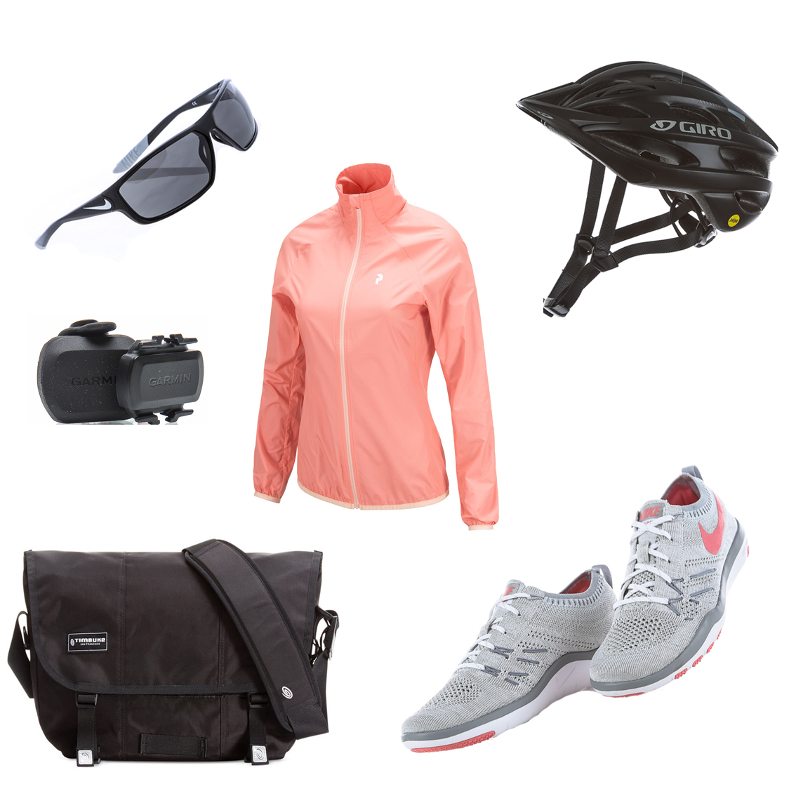 Cykelutrustning för att cykla till jobbet, cykelhjälm, cykeldator, cykelglasögon, cykelväska