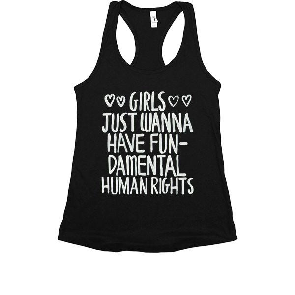 Girls just wanna have fundamental rights feminist linne tshirt tröja