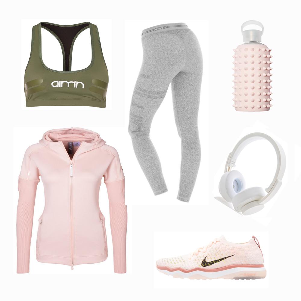 Träningskläder grå grön rosa