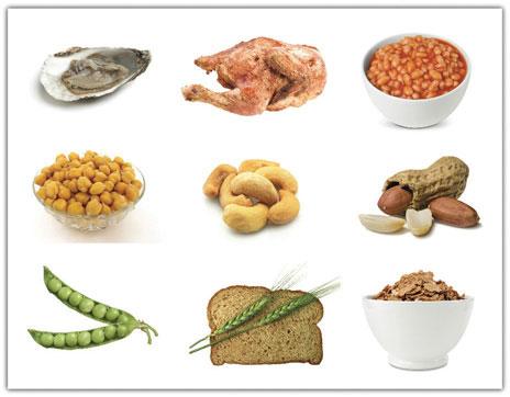 zinkrik mat ostron, skaldjur, nötter fröer