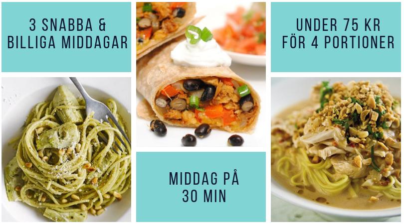 Snabb middag billiga maträtter. Snabblagad mat, enkla middagstips.