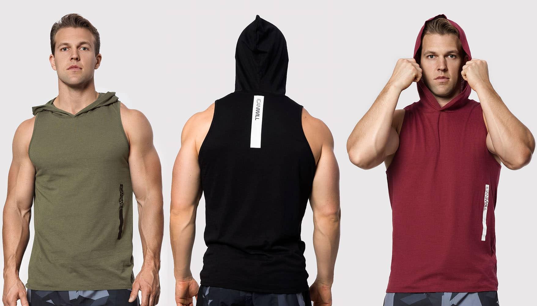 herr ärmlös hoodie män hoodie utan ärmar kortärmad hoodie
