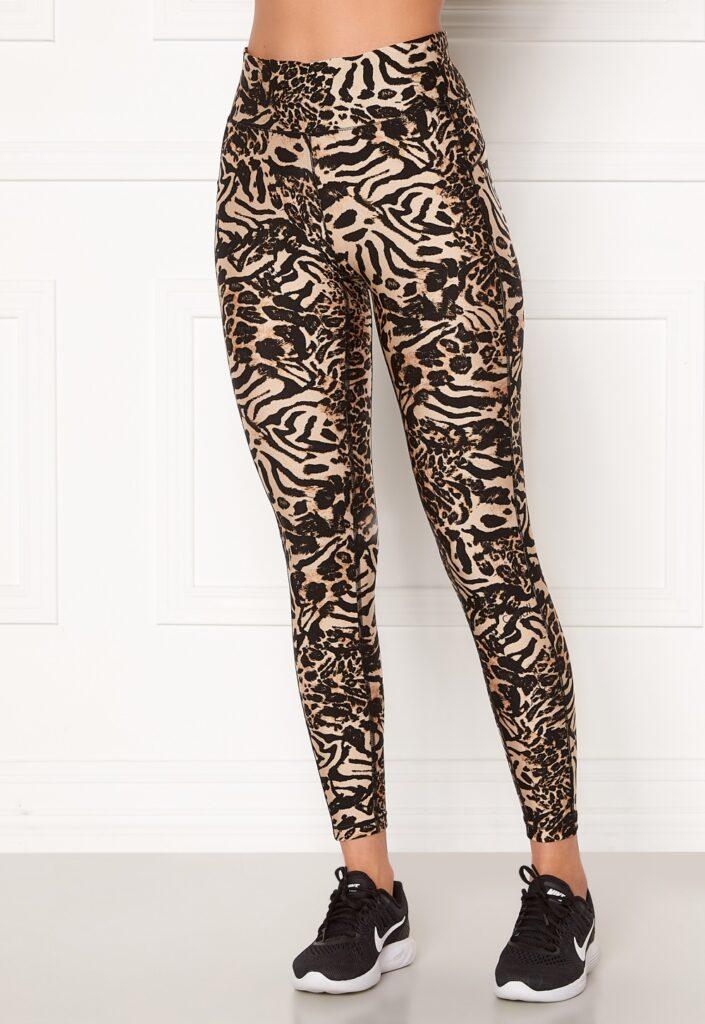 Glansiga träningstights casall leopard print metallic