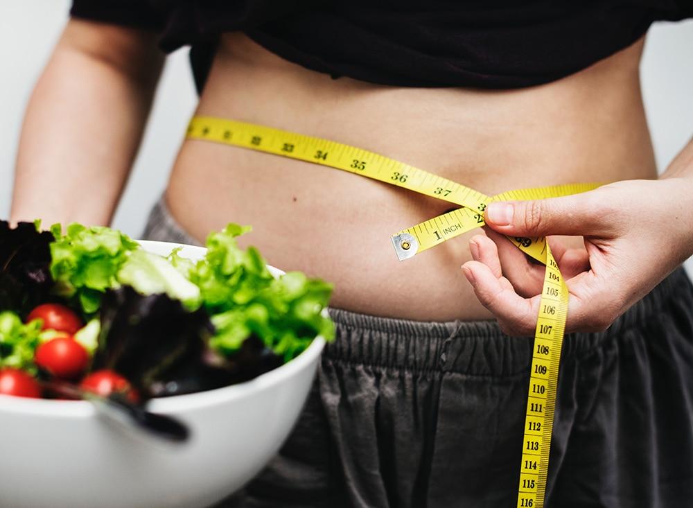 mäta magen, mäta kroppen gå ner i vikt måttband