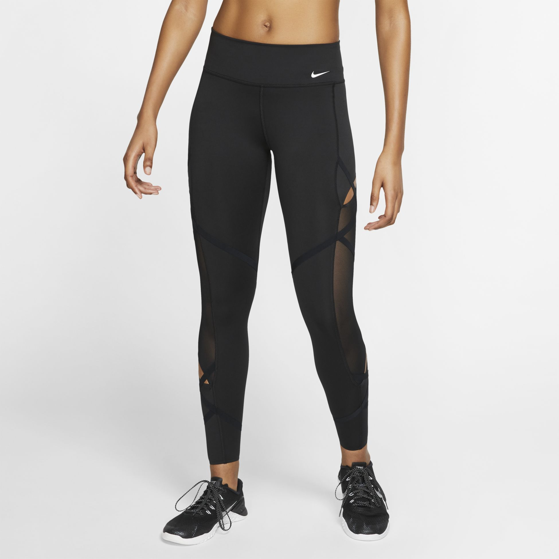 svarta nike tights mesh yoga