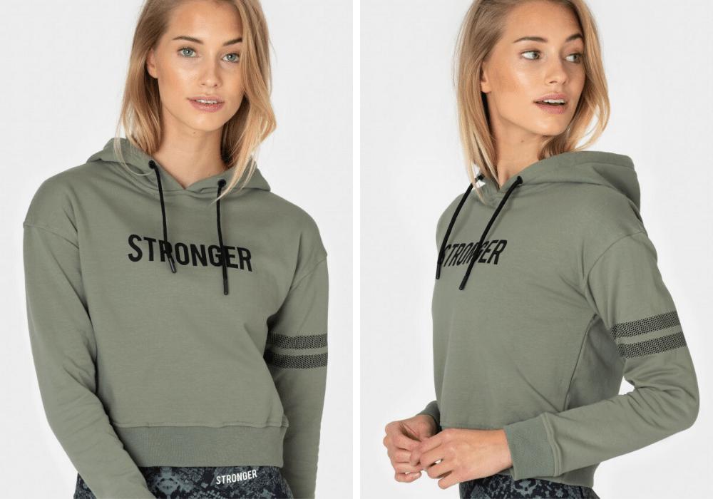 Grön tränings hoodie stronger