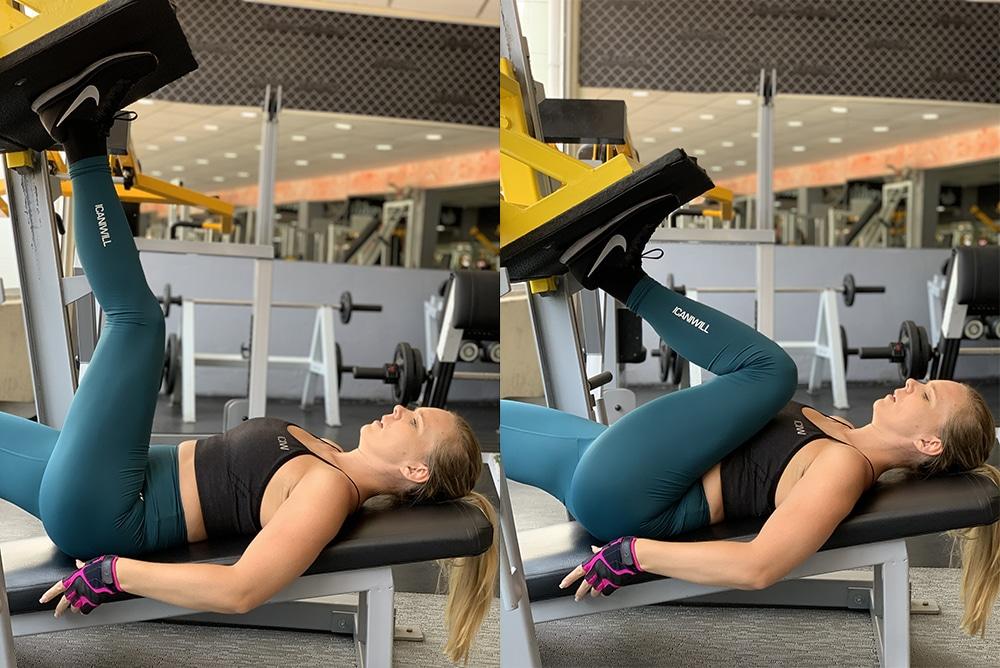 Benpress ett ben träna rumpa på gym