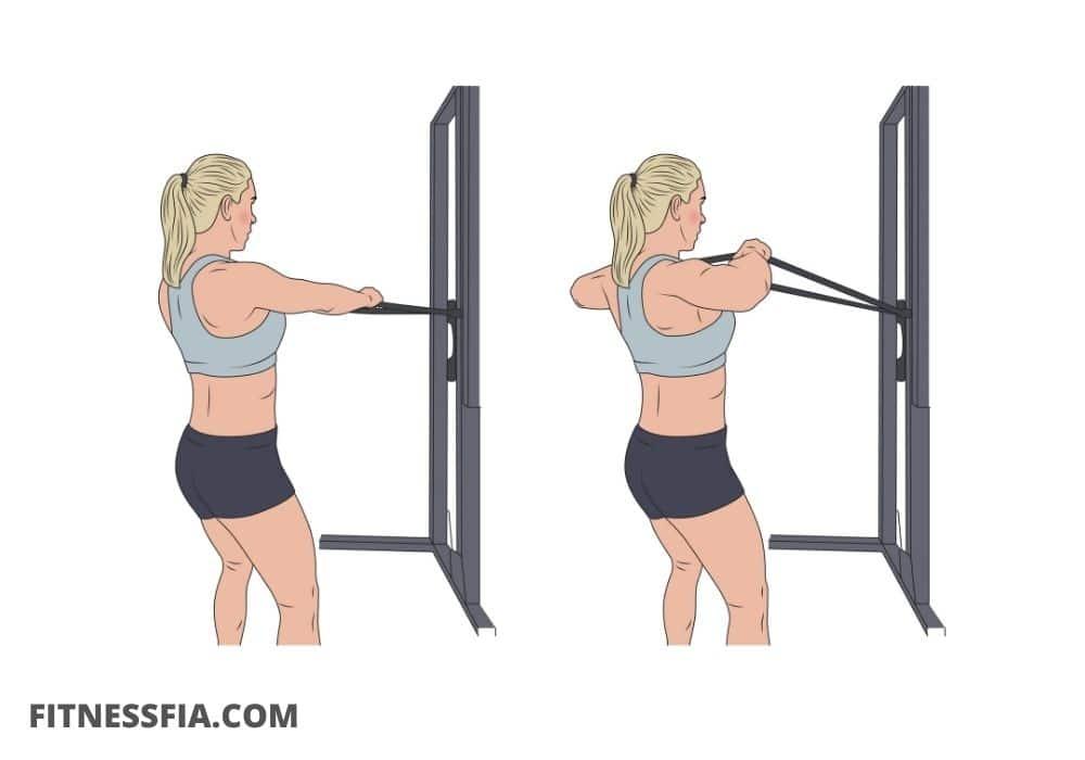 Träna rygg gummiband övning