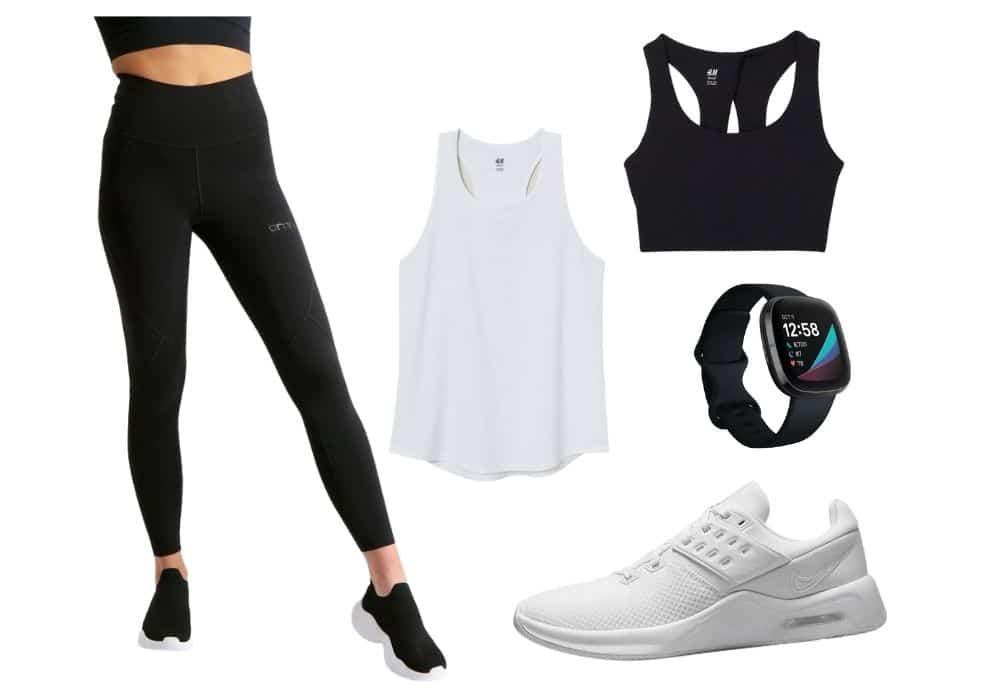 träningskläder svart vitt