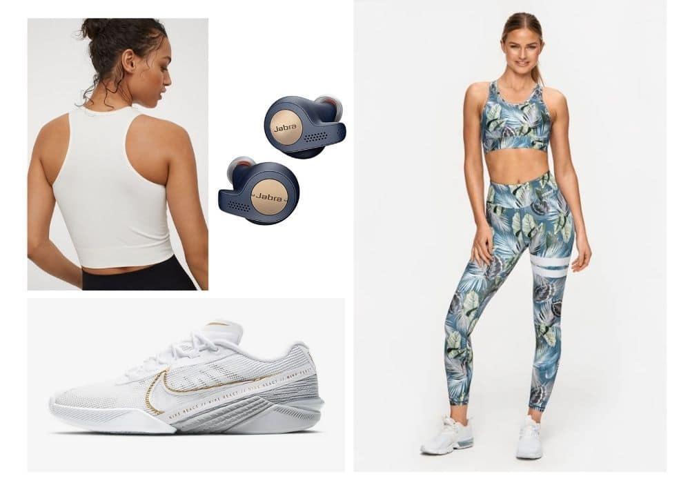 Mönstrade träningstights outfit