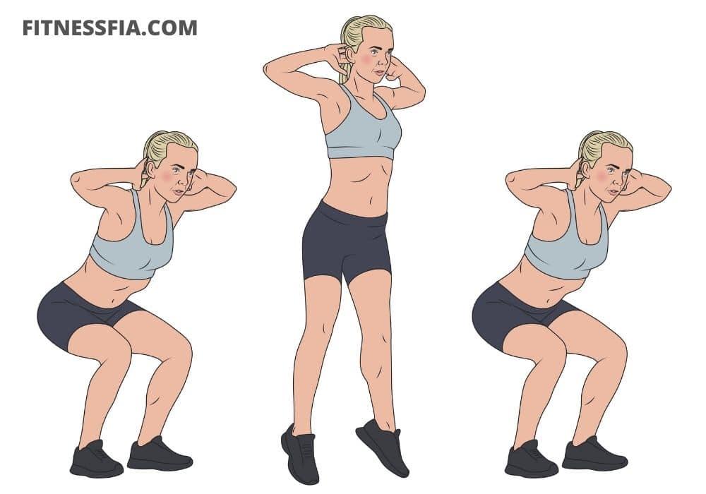 Squats utan vikter hemma upphopp övning