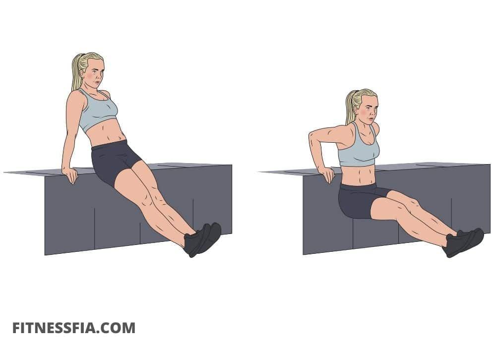 Övning triceps dips mot bänk