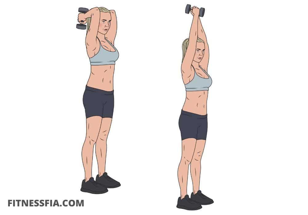 Tricepspress med hantlar triceps övning