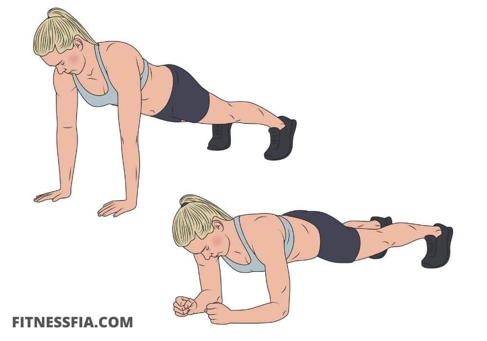 Vandrande planka övning på armbågarna