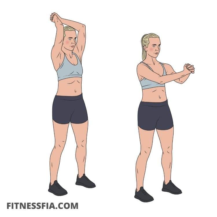 Air chop övning lufthugg magträning stående utan vikter