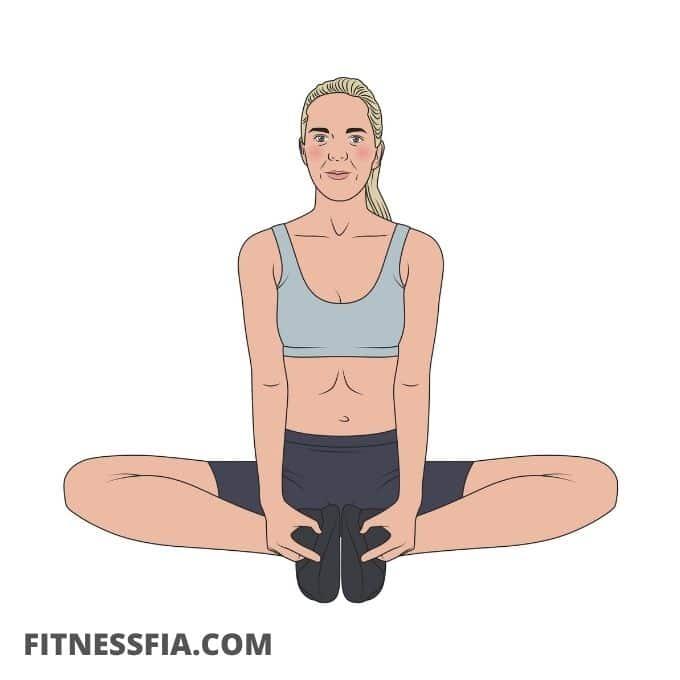 Fjärilen yoga stretcha ljumsken