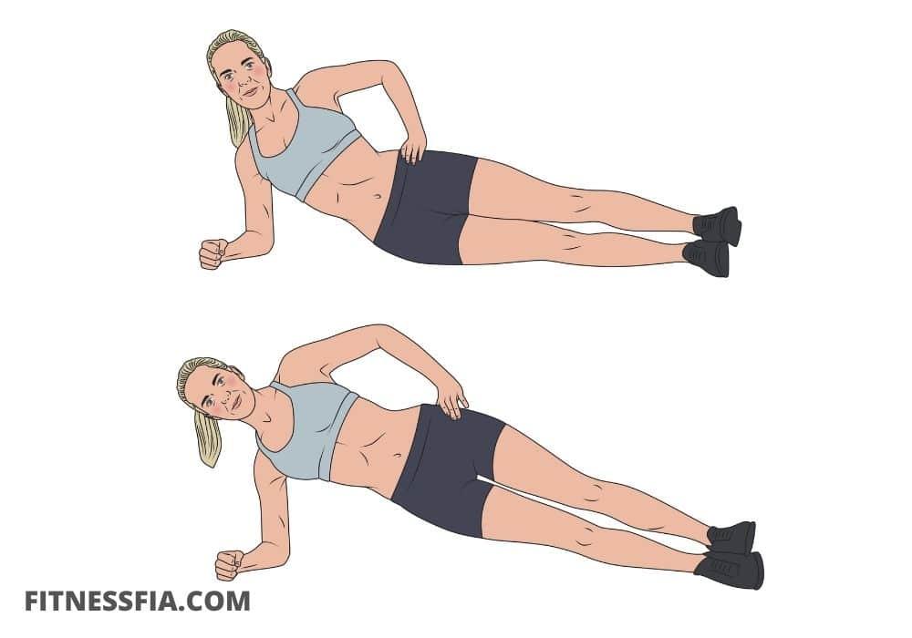 Höftlyft i sidoplanka mage träna magmuskler sidan