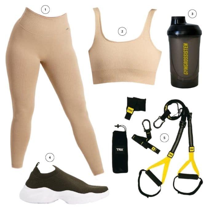 Outfit träning TRX, Aimn seamless ribbed tights och topp