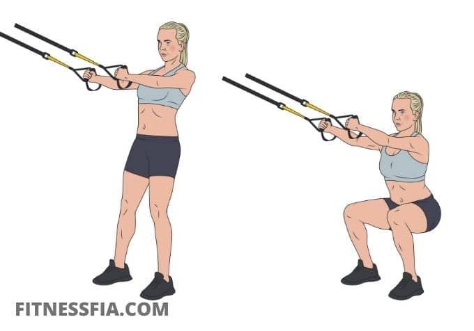 TRX band övningar knäböj squats