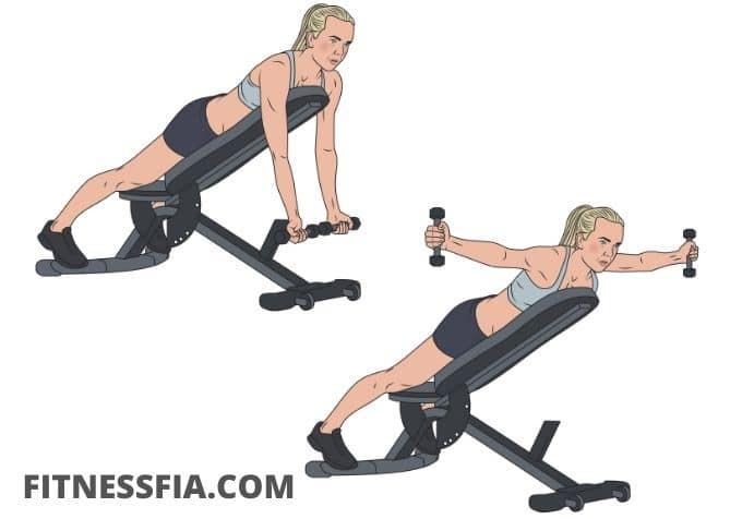 Liggande flyes bänk axelövning gym