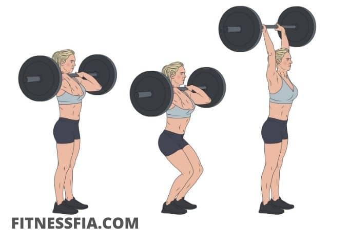 Push press med skivstång övning axlar gymmet