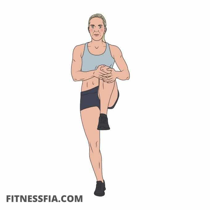 Uppvärmningsövning knä till bröst