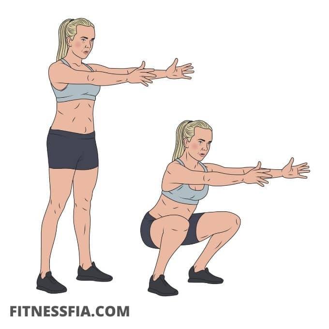 Vanliga squats övning knäböj
